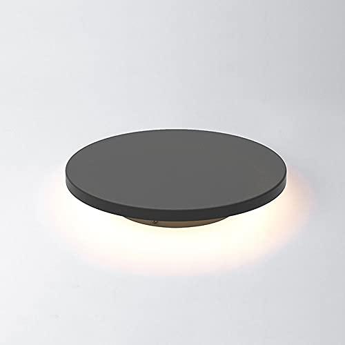 Nórdico Redondo IP54 Linterna de poste para exteriores Metal gris Columna impermeable Luminaria LED Lámpara de pilar externa Farola a prueba de lluvia Césped Camino de pared Jardín Iluminación decorat