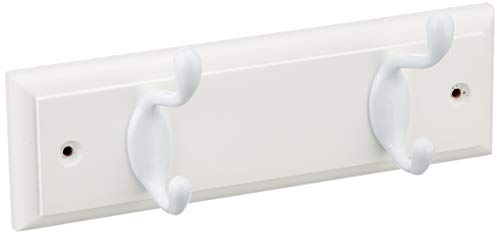 keypak OL910024 Perchero de Pared de 2 Ganchos, Madera, Blanco, 2 Hook
