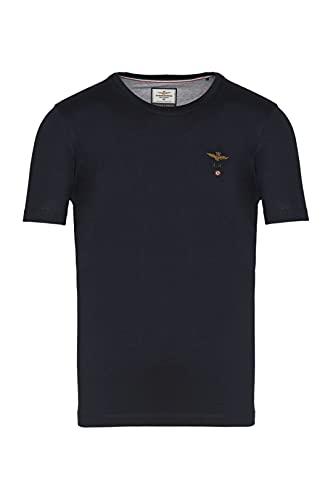 Aeronautica Militare - T-shirt ras du cou en jersey de coton, basique et polyvalent, brodé sur le buste avec aigle Turrita - Bleu - Large