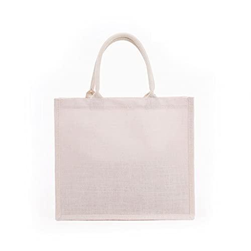 ZZALLL Bolso de Mano de arpillera para Mujer de Moda Bolsos de Embrague en Blanco Bolso de Compras con asa Superior Informal de Gran Capacidad para Bordado de Bricolaje - Blanco