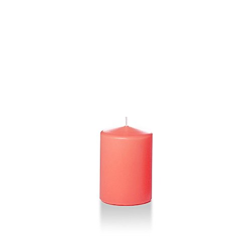 "Yummi 3"" x 4"" Coral Round Pillar Candles - 3 per pack"