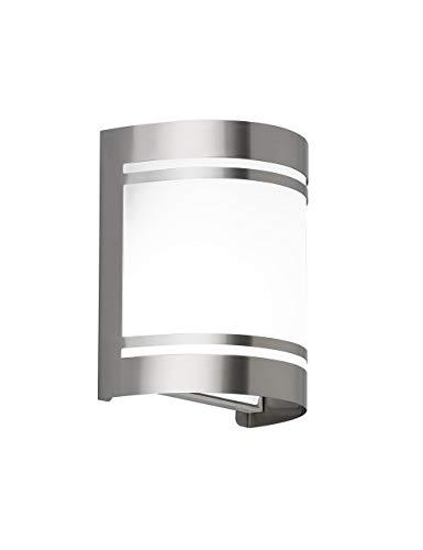 WOFI Außenwandleuchten, Metall, E27, 60 W, Edelstahl Gebürstet Roh, 10.5 x 14 x 16.5 cm