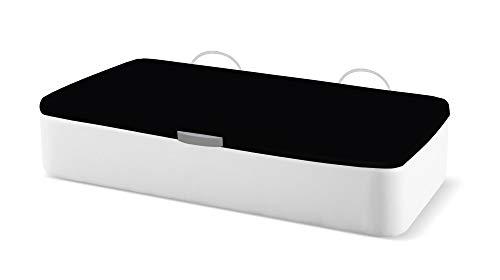 Naturconfort Canapé Abatible Ecopel Blanco Premium Tapizado Apertura Lateral Tapa 3D Negra 80x180cm Envio y Montaje Gratis