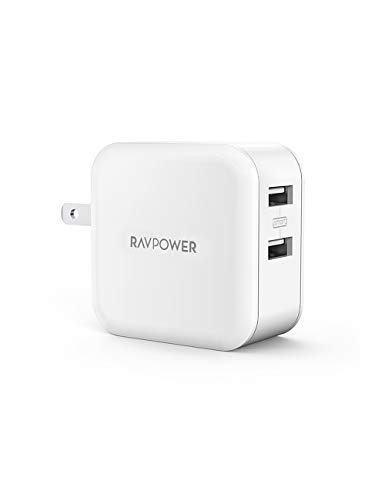 RAVPower RP-UC11 USB Charger, 2 Ports, 24 W, Maximum Output 5 V, 4.8 A / Rapid / Folding Plug, Compatible with USB Devices such as iPhone, iPad, Android, etc.
