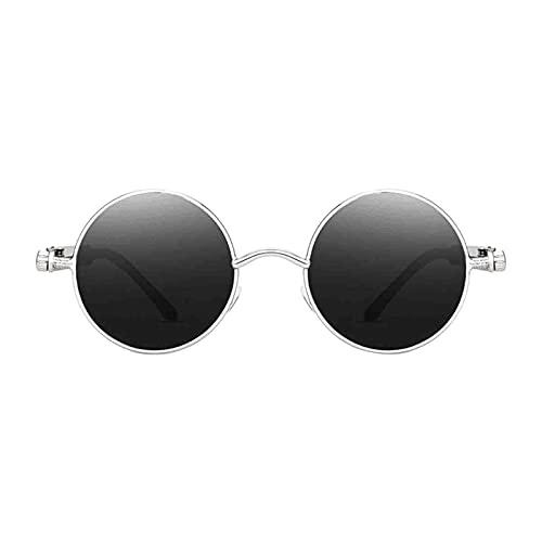 SM SunniMix Gafas de sol de círculo Steampunk Retro góticas de moda para mujeres y hombres montura de Metal de lente redonda, protección UV - Silver Gray