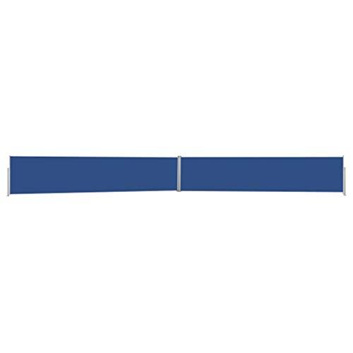 vidaXL Toldo Lateral Retráctil para Patio Separador Terraza Balcón Pantalla Solar Viento Enrollable Función Retroceso Automático Azul 170x1200 cm