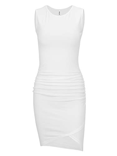 Missufe Women's Casual Sleeveless Ruched Bodycon Sundress Irregular Sheath Basic Tank T Shirt Dress (Cream White, Small)