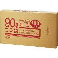 クラフトマン 業務用乳白半透明 メタロセン配合厚手ゴミ袋 90L BOXタイプ 1箱(100枚)