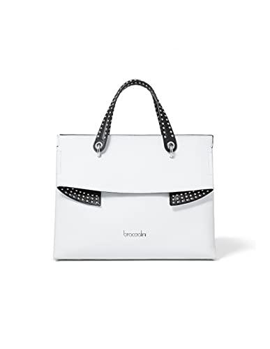 Braccialini Neomi-Tasche aus Leder., Weiß 37 x 29 x 15 cm