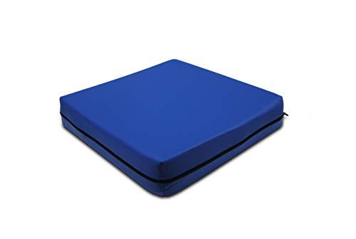 PEPE-COJÍN Antiescaras (42x42x8 cm), Cojín Silla Oficina, Cojin Antiescaras para Silla de Ruedas, Cojín Antiescaras Viscoelástico, Cojín Postural, Color Azul