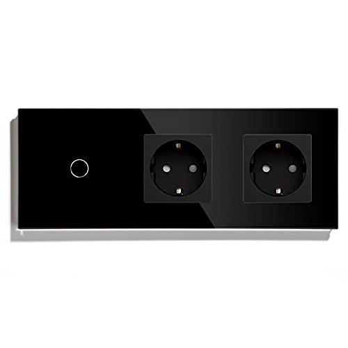 BSEED Normal enchufe doble con Interruptor de luz WiFi,Compatible con Alexa y Google Home,Control de APP y Función de Temporizador,1 Gang 2 Vías WiFi Interruptor de Pared con Enchufe Doble Negro