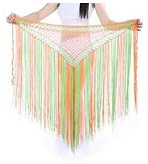 CHENTAOCS DJGRSTER 13Colors Belly Dance Clothes Accessories Stretchy Long Tassel Triangle Belt Hand Crochet Belly Dance Hip Scarf Easy to use (Color : Gold, Size : One Size)