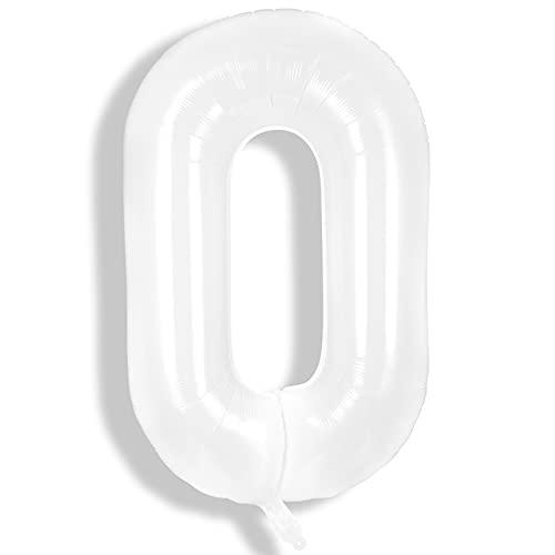 40 Pulgadas Globos de Números Gigantes Blancos Globos Grandes de Papel de Aluminio de Helio Globo Blanco Grande de Mylar Globo Digital de Edad de Número de Lámina para Cumpleaños (Número 0)