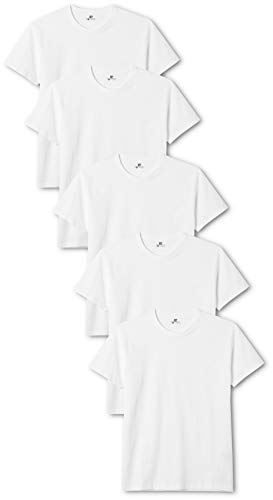 Lower East Herren T-Shirt mit Rundhalsausschnitt, 5er Pack, Weiß(Weiß), Medium