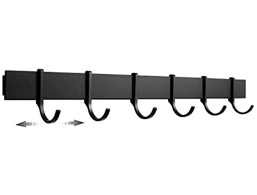 Designfabrik Hamburg   Hakenleiste Küchenleiste selbstklebend Hängeleiste Stange für Küchenutensilien   Küchenhalterung ohne Bohren   6 bewegliche Haken   40cm   Modernes Design Matt Schwarz