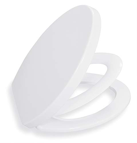 Adult Child Toilet Seat ELONGATED BATH ROYALE BR631B-FFP White, Kids Toilet Seat for Potty Training, Slow Close Easy Cleaning, Fits All ELONGATED Toilets Including Kohler, Toto and American Standard
