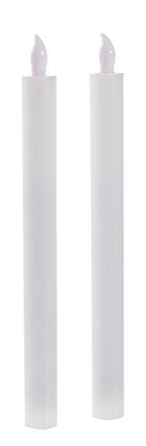 Flower Power LED Stabkerze, Echtwachs, weiss, 5 x 2,5 x 25 cm
