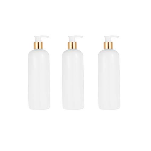 TOPBATHY 3 Stücke 500 Ml Pumpe Lotion Flasche Nachfüllbare Leere Flasche Bad Spender Flaschen für Flüssigseife Shampoo Lotion Container (Weiß Und Golden Weiß)