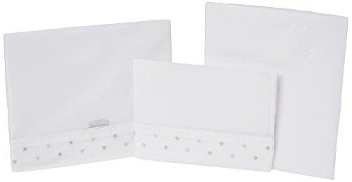 Petit Lazzari Lot de 3 draps pour berceau Motif étoiles Beige 70 x 140 cm