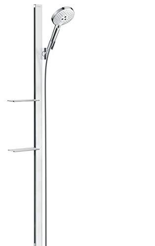 hansgrohe Duschsystem (Duschkopf, Schlauch, Duschstange, Raindance Select S 120 Regendusche 1,50m mit zwei Ablagen, 3 Strahlarten) Weiß/Chrom