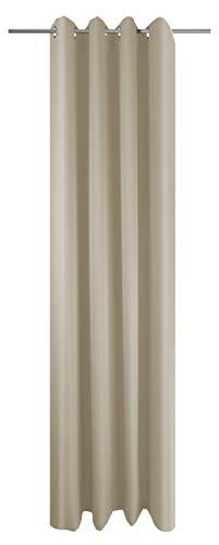 Ösenschal Vorhang Sand Uni Blickdicht Lichtdurchlässig HxB 245x145 cm - Dekoschal Gardine Beige