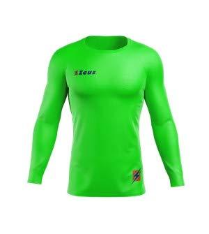 Zeus Maglia Termica FISIKO Manica Lunga Sport T-Shirt Unisex Uomo Donna Bambino (M, Verde Fluo)