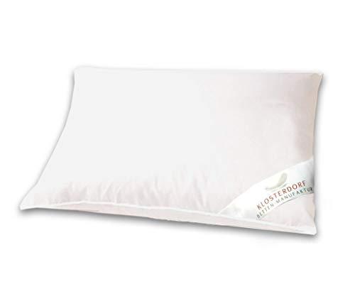 Klosterdorf Bettenmanufaktur Premium Kopfkissen ''natürlich Deluxe'' | 40x60 cm | 375 Gramm | Handarbeit aus Deutschland | Für einen gesunden Schlaf