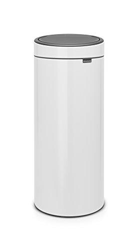 Brabantia 115141 Touch Bin New mit herausnehmbaren Kunststoffeinsatz, white, 30 L