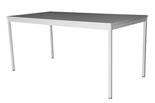 Schreibtisch (Stahl) LxB: 180x80 cm, lichtgrau, Marke: Szagato (Arbeitstisch, Bürotisch, Druckertisch Büro-Möbel Arbeitszimmer Computertisch großer Schreibtisch Home-Office Büro-Schreibtisch)