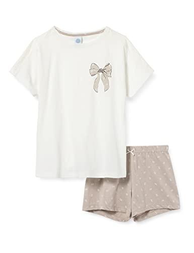 Sanetta Mädchen Schlafanzug kurz beige Pyjamaset, White Pebble, 176
