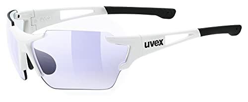 uvex Unisex– Erwachsene, sportstyle 803 race V Sportbrille, selbsttönend, white/blue, one size