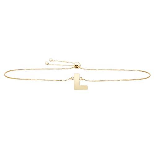 Pulsera de oro amarillo de 14 quilates con nombre de letra pulido, monograma personalizado, con cierre de cuerda, regalo para mujer – 23 centímetros