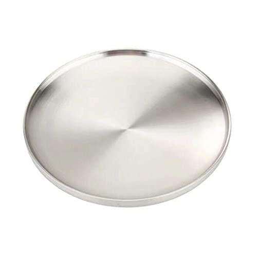 PHILSP Acero inoxidable de doble capa redonda plato de aislamiento térmico placa anti-quemadura tazón condimento coreano plato plata 21