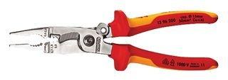 KNIPEX 13 96 200 Elektro-Installationszange verchromt isoliert mit Mehrkomponenten-Hüllen, VDE-geprüft 200 mm