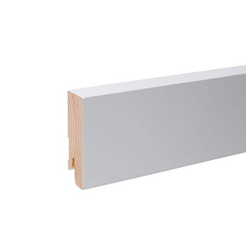 Vierkant Massivholz Sockelleiste I Echtholz Fußleiste - Weiß lackiert RAL 9010 Höhe 60mm