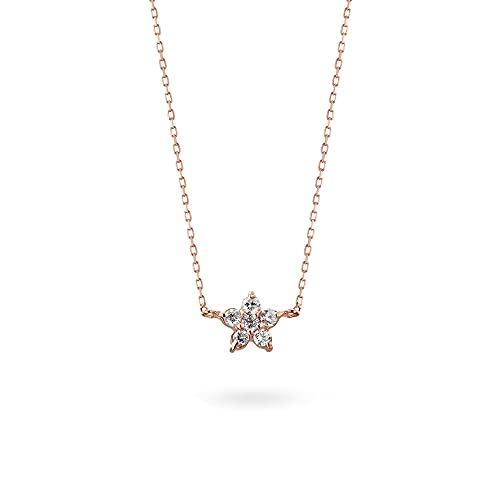 K18ピンクゴールド ネックレス ダイヤモンド 0.10ct フラワースター 星 レディース ペンダント 18K 18金 華奢 上品 チェーン付き 長さ50cm
