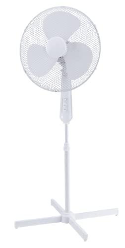 Aro Standventilator SF3619C, leise mit 3 Windstärken, Drehfunktion, 36cm Durchmesser, Höhenverstellbar 98 -120cm, weiß, für Zimmer, Büro, Schlafzimmer