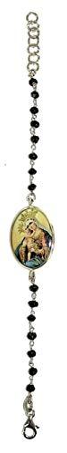 Pulsera de plata con medalla de la Virgen y el Niño Jesús