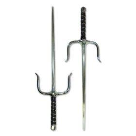Ace Martial Arts Supply Pair of New Sais Octagon Martial Arts Ninja Sai Weapon, 19-Inch, Silver