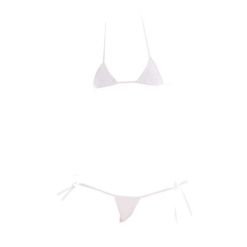 YOMORIO Damen Sexy Anime Cosplay Dessous Lolita Cute Micro Bikini Set Kawaii BH und Panty - Weiß - Mittel