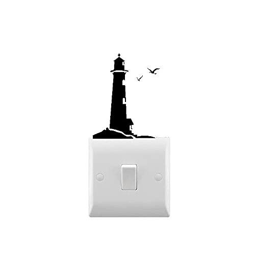 Novedad calcomanía de pared de faro pequeña pegatina para interruptor de luz para el hogar interruptor de luz decoración calcomanía pegatina de vinilo Mural 10X8cm