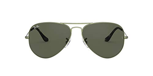 Ray-Ban RB3025 Classic Aviator Sunglasses, Sand Transparent Green/Green, 58 mm