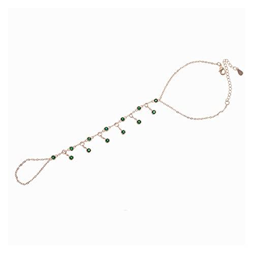 baidicheng Cadena de dedo de oro rosa cadena cadena de gota pulsera esclava pulsera blanca arco iris verde piedra elegancia joyería para mujer (color metal: verde cz)