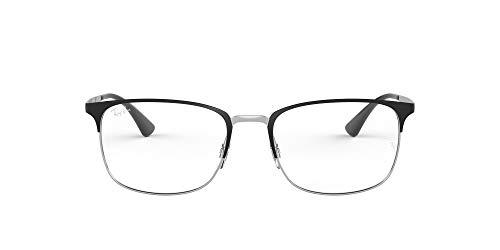 Armação retangular de óculos de metal Ray-Ban RX6421, Matte Black on Silver/Demo Lens, 52 mm