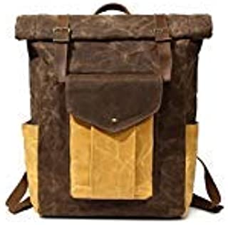 Partrisee Vintage Waxed Canvas Leather Backpack | Wax Canvas Rucksack | Canvas Roll Bag | Vintage Leather Rucksack | Roll Top Bag | Laptop Bag | Travel Bag | For Men And Women