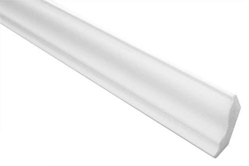 Zierleisten Sparpaket E-4 | leicht und stabil | extrudiertes Styropor | Stuckprofile | Decken-/ und Wandübergang | modern weiß | dekorativ | XPS | 30 x 30 mm | 50 Meter