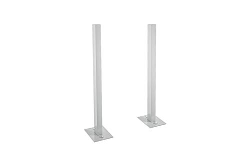sbox 17 Briefkasten Seitliche Stützen mit Fussplatten aus hochwertigen Aluminium, Postfach Pfosten, Weissaluminium, hergestellt in der Schweiz