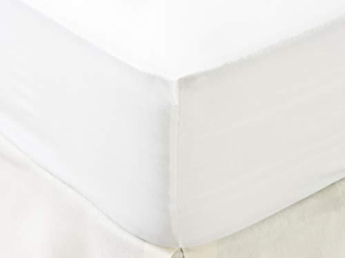 TEX 3616180974979 Sábana, 100% Algodón Ecológico, Blanco, 180x210
