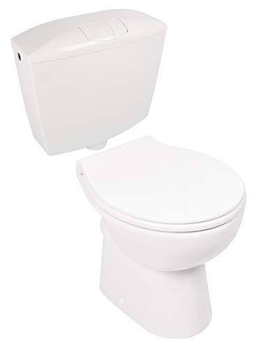 Calmwaters® - Spülrandloses Stand-WC mit waagerechtem Abgang im Set mit Toilettendeckel und Spülkasten - 99000189