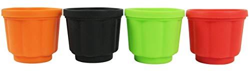 Yoko Design 1139 Moules à Flan Silicone/Platine Noir/Vert/Orange/Rouge 07 cm - Lot de 4 pots avec couvercle